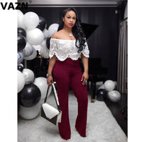 VAZN FSX37 hot product 2019 summer lady red black jumpsuit short sleeve off shoulder jumpsuit lady skinny chic jumpsuit
