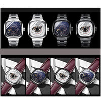 CAROTIF Business Automatic Watch Men Square Mens Mechanical Watches Male Top Brand Luxury Stainless Steel relogio masculino