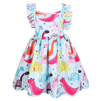 Baby Girl Dinosaur Unicorn Print Dress 3 4 5 6 7T Flying Sleeve Colorful Print Floral Outfits Ruffles Cute Kids Backless Clothes