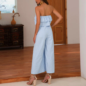 Fashion Women Off Shoulder Ruffle Wide Leg Slim Up Blue Striped Loose Jumpsuits Backless Female Rompers For Summer 2019