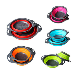 Folding Strainer Bowl Outdoor Camping Tableware Sets Silicone Folding Colander Strainer Draining Bowl Portable Picnic Cookware