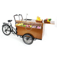 Best selling new design fashion pedal and electric coffee bar bike adult tricycle for food and snack free shipping