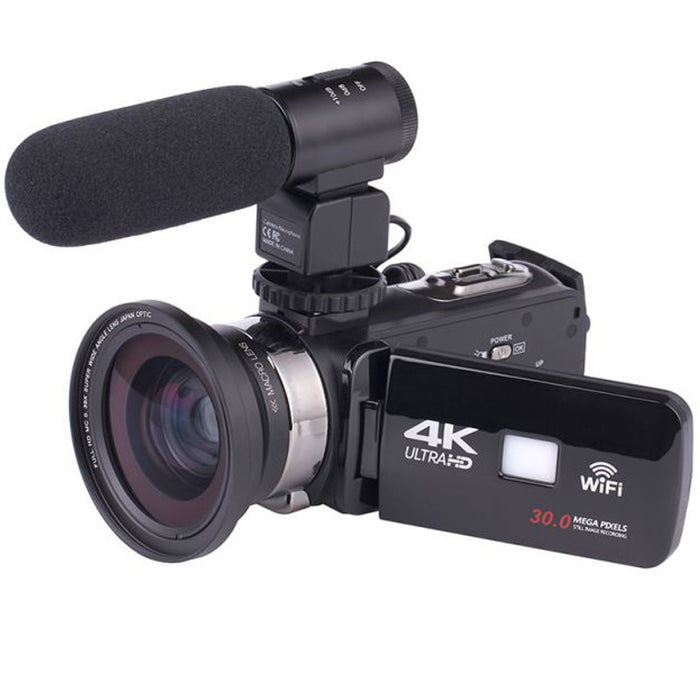4K WiFi Camera 16X Zoom Digital Video Camcorder Wide Angle Lens Professional Handheld