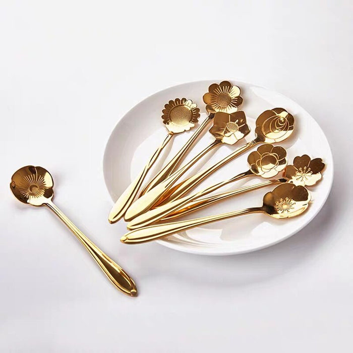 8pcs/set Flower Design Stainless Steel Spoon set Tea Coffee Metal golden Dessert Spoon (GOLD)