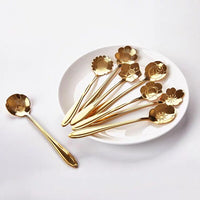 8pcs/set Flower Design Stainless Steel Spoon set Tea Coffee Metal golden Dessert Spoon