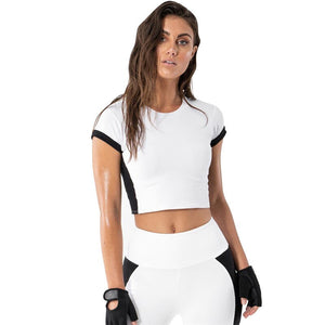 Summer Athletic Women Gym Jogging Black&white Active High Waist Fitness Outfit Mujer Sport Jumpsuit Femme Top+leggings Yoga Wear