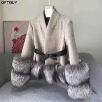 OFTBUY Winter Jacket Women Real Fur Coat 100% Natural Silver Fox Fur Cuff Thick Warm Cashmere Wool Blends Outwear Streetwear New