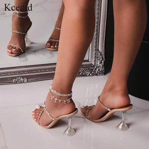 Kcenid 2020 New fashion rhinestone PVC transparent slippers crystal perspex high heels sexy square toe women party sandals pumps