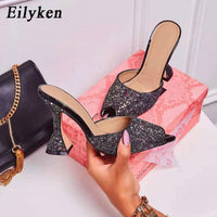 Eilyken 2020 Summer New Shoes Woman Lycra fluorescent Mules glitter Peep toe Slides High heel Slippers Slip on Fashion Sandals