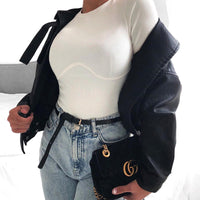 Rapwriter Casual Wave Line Ribbed O-Neck Long Sleeve Crop Top Basic White T-Shirt Girl 2019 Streetwear Stretch Tee Shirt femme