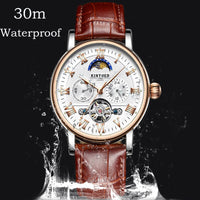 Top Brand KINYUED Men Watch Men Skeleton Automatic Tourbillon Mechanical Watches Moon Phase Waterproof Montre Homme Automatique