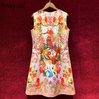 Svoryxiu Fashion Designer Summer Tank Short Dresses Women's High End Beaded Sequins Underwater World Flower Print A-Line Dress
