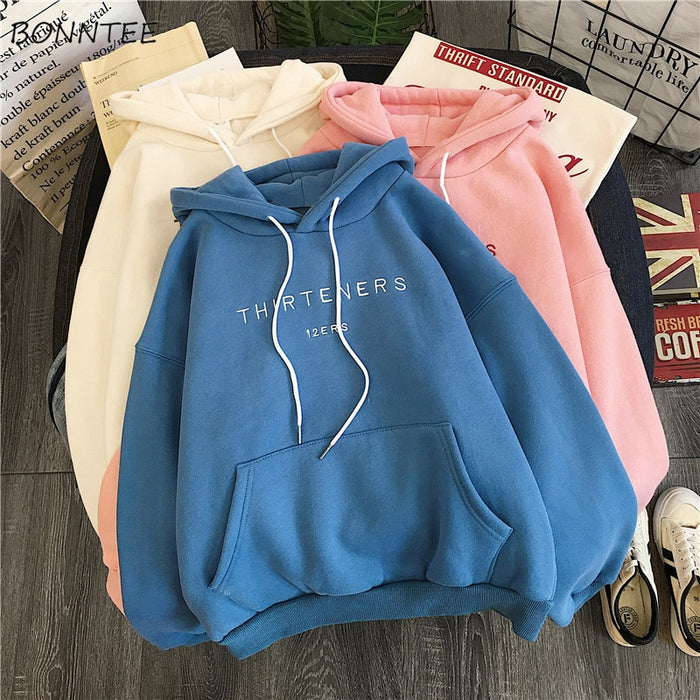 Hoodies Women Plus Velvet Female Letter Printed Ulzzang Big Pocket Students Harajuku