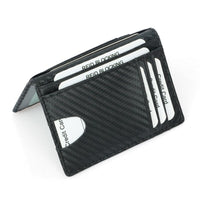 New Black Carbon Fiber Slim Credit Card Holder Mini RFID Wallet PU Leather Driver's License Cover ID Holder For Men Small Purse
