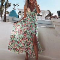 NEDEINS Women Print V Neck Split Maxi Dress Summer Floral Spaghetti Strap Party Chiffon Elegant Casual Dresses Beach
