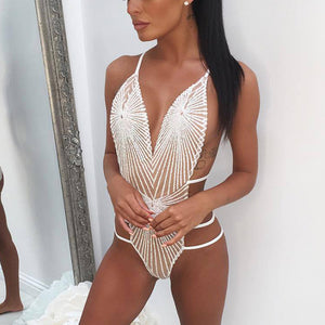 Bling Sequined Bodysuit Women Deep V Neck Backless Criss Cross Bandage Hollow Out
