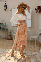 Boho Inspired ROSY MAXI SKIRT floral cotton high-low hem skirts womens new elastic waist boho skirts casual holiday summer skirt