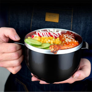 304 Stainless Steel Noodle Bowl with Handle Lid Lunch Box Rice Soup Instant Noodle Food Container household utensil Bento Box