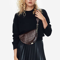 Alligator Crossbody Bags for Women Half Circle Cover Shell Bag Solid Pu Leather Luxury Handbag Ladies Designer Shoulder Bag