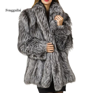 Autumn And Winter Fashion New Imitation Velvet Fur Coat In The Long Section Of Fur Coat Female Loose Thick Warm Silver Gray