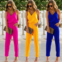 2019 Newest V Neck Women Jumpsuit Casual Sleeveless Long Trousers Lady Overalls Solid Red Yellow Blue Jumpsuits Female Rompers