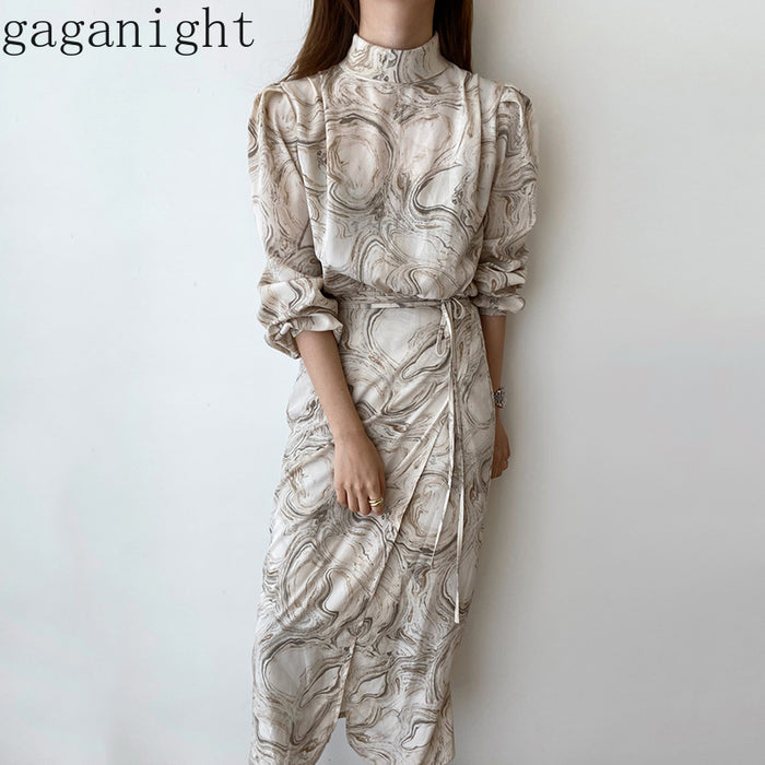 Gaganight Vintage Elegant Women Maxi Party Dress Long Sleeve Blooming Abstract Pattern