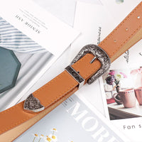 Women Black Leather Waist Western Belt Metal Buckle Waistband New Hot Cowgirl Belts For Woman Luxury Designer Brand Strap 371