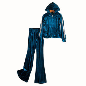Casual Two Piece Set Sweatsuit Long Sleeve Tops and Long Pants Velvet Women Hoodies Tracksuit S-XL