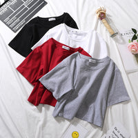 2020 Summer Short Sleeve T Shirts Women Cotton Solid T-shirt  O Neck High Waist Crop Top Tee Female Casual Loose  T Shirt