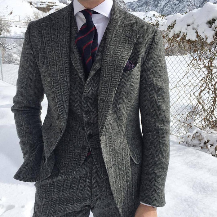 Herringbone Wool Grey Men Suits For Formal Business Groom Wedding Tuxedo 3 Piece Tweed