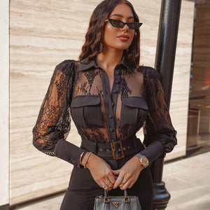 Rapwriter Sexy Transparent Lace Patchwork Turn Down Neck Black Shirt Blouse Women Stylish Long Sleeve Mesh Tops Button Femme