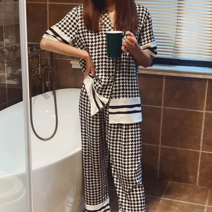 Classical Houndstooth Pyjamas Women 2020 New Summer Pijamas Set Silk Stain Sleepwear