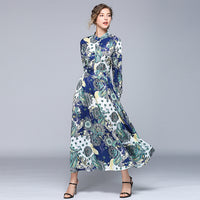 HAMALIEL Chiffon Women Long Dress High Quality Spring Summer Long Sleeve Flowers Printed Dress Vintage Stand Collar Maxi Vestido