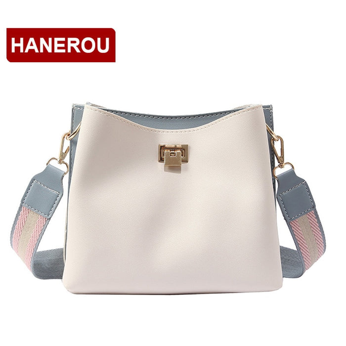 HANEROU Sweet Lady Bucket Bag PU Leather Crossbody Bags For Women Wide Strap Shoulder Bag 2018 Luxury Panelled Messenger Bags