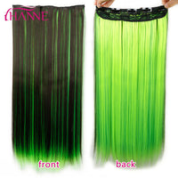 "HANNE 24"" 60cm 5 Clips Straight Mixed Brown And Blue Or Green Or Pink Synthetic Hair pieces Clip-in One Piece Hair Extensions"