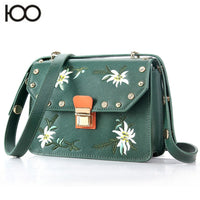 HANSOMFY|Embroidery Shoulder Bag Vintage Rivet Taiga PU Leather Crossshoulder Casual Dating Woman Bag