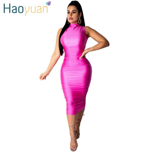 HAOYUAN Elegant Bodycon Satin Dress Women Clothes Midi Robe Sexy Club Dresses Ladies Black Summer Vestidos Night Party Dress