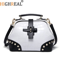 HIGHREAL White Women Genuine Leather Bag Female Bag Women Handbag Brand Luxury Leather Ladies Hand Bag Doctor Designer