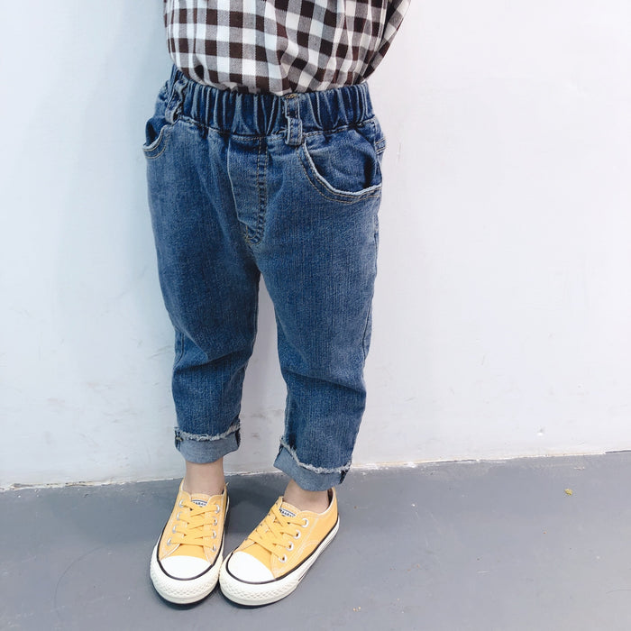 Spring 2019 New styles baby girls solid color fashion edge jeans 2-6 years kids all-match casual