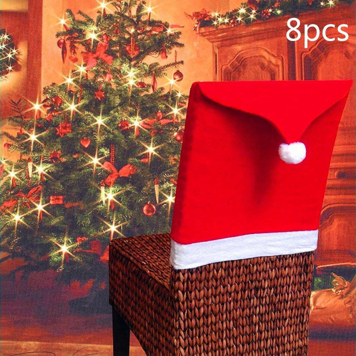 New Santa Claus Hat Shape Table Decorations Christmas Chair Clause Pack of Back Christmas,