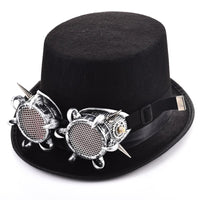 Steampunk Goggles Hat Rivets Goggle Glasses Black Hats Punk Style Fedora Headwear Gothic Lolita Cosplay Hat Accessories Costumes