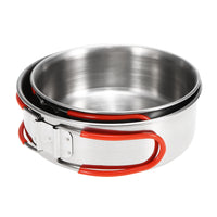 Camping Cookware Outdoor Cooking Bowls Portable Lightweight Pots Backpacking Hiking Trekking Picnic 2Pcs Stainless Steel Bowls