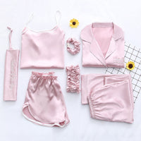 2019 Summer Women 7 Pieces Silk Pajamas Satin Pyjamas Set Sleepwear Sexy Pijama Nightsuit Female Sleep Loungewear