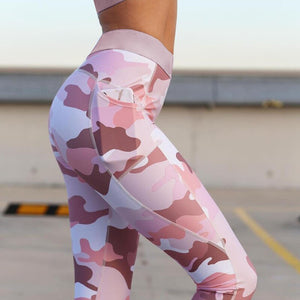 Pink Camouflage Sexy Sport Suit Women Yoga Set Breathable Gym Sport Wear Elastic Fitness Training Running Dancing Suit