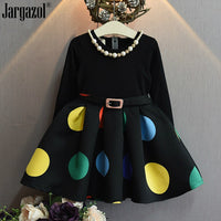 Girl Mesh Dress 2018 New Spring Dresses Children Clothing Princess Dress dot Design Girl Clothes Dress with necklace