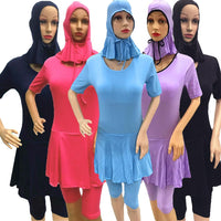 2PCS Islamic Swimsuit Women Short Sleeve Modesty Beachwear Muslim Beachwear Arab Swimwear Burkini Hat+Swimsuit Ladies Clothing