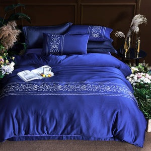 Luxury Cotton Silk Embroidery King Queen Bedding Set Navy Blue Solid Colors Duvet Cover Flat Sheet Pillow Case For Wedding