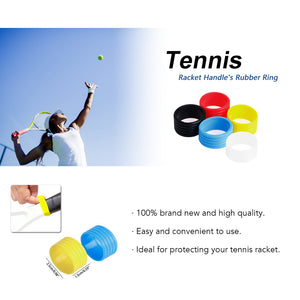 10Pcs Tennis Racket Handle Anti-slip Rings Sweat Absorbent Silicone Tennis Racket Overgrip Tennis Handle Rings Tennis Accessory