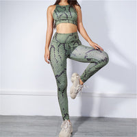 2 TWO PIECE SET Snake Skin Print Pattern Leggings Women Tank Top Training Tracksuit Fitness Sportswear Compression Jogging Suits