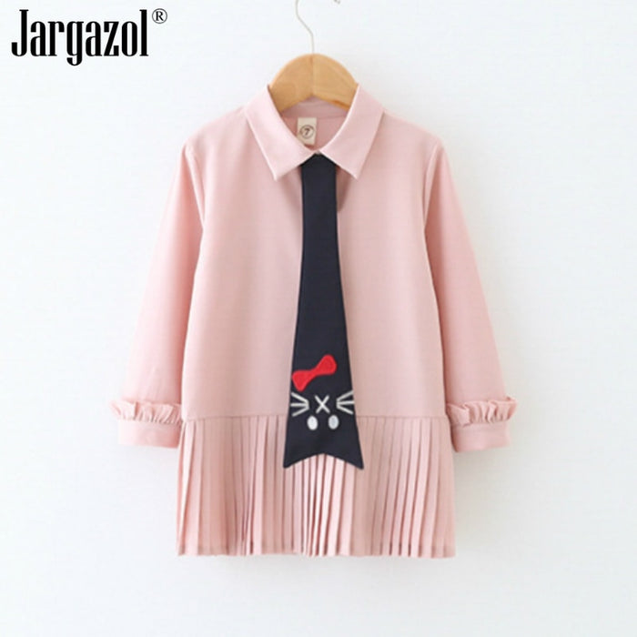 Girls Dress Long Sleeve Pink Color Fashion Dress with Cat Tie Cute Spring Clothes Children Dressing